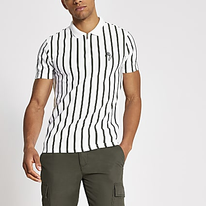 Maison Riviera white stripe slim polo shirt