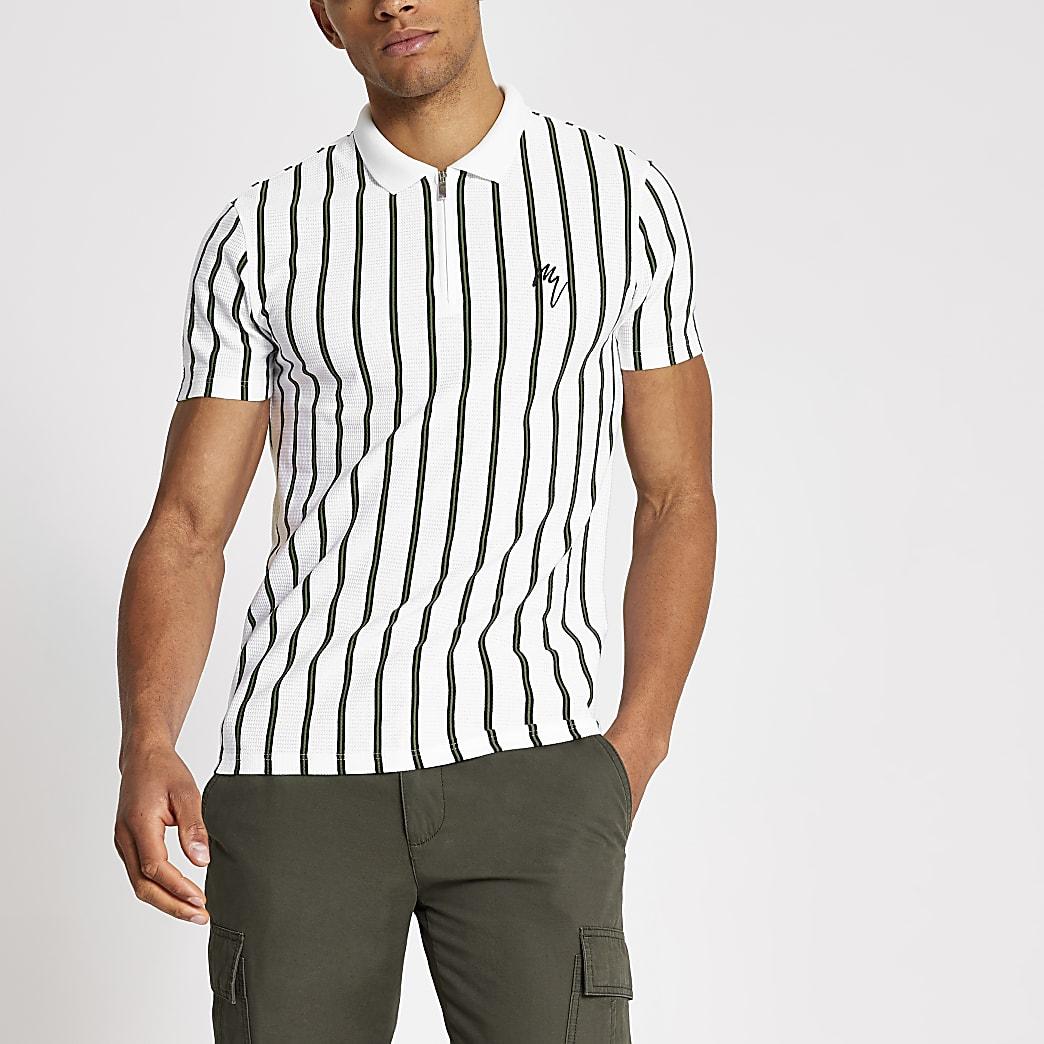 Maison Riviera white stripe slim polo shirt