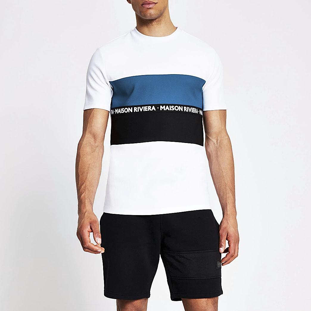 Maison Riviera - Wit T-shirt met tape en kleurvlakken