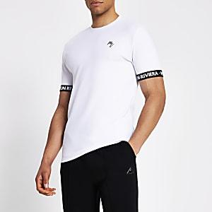 Maison Riviera – T-shirt avec bandeà logo blanc
