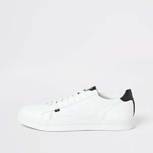 Maison white lace-up trainers