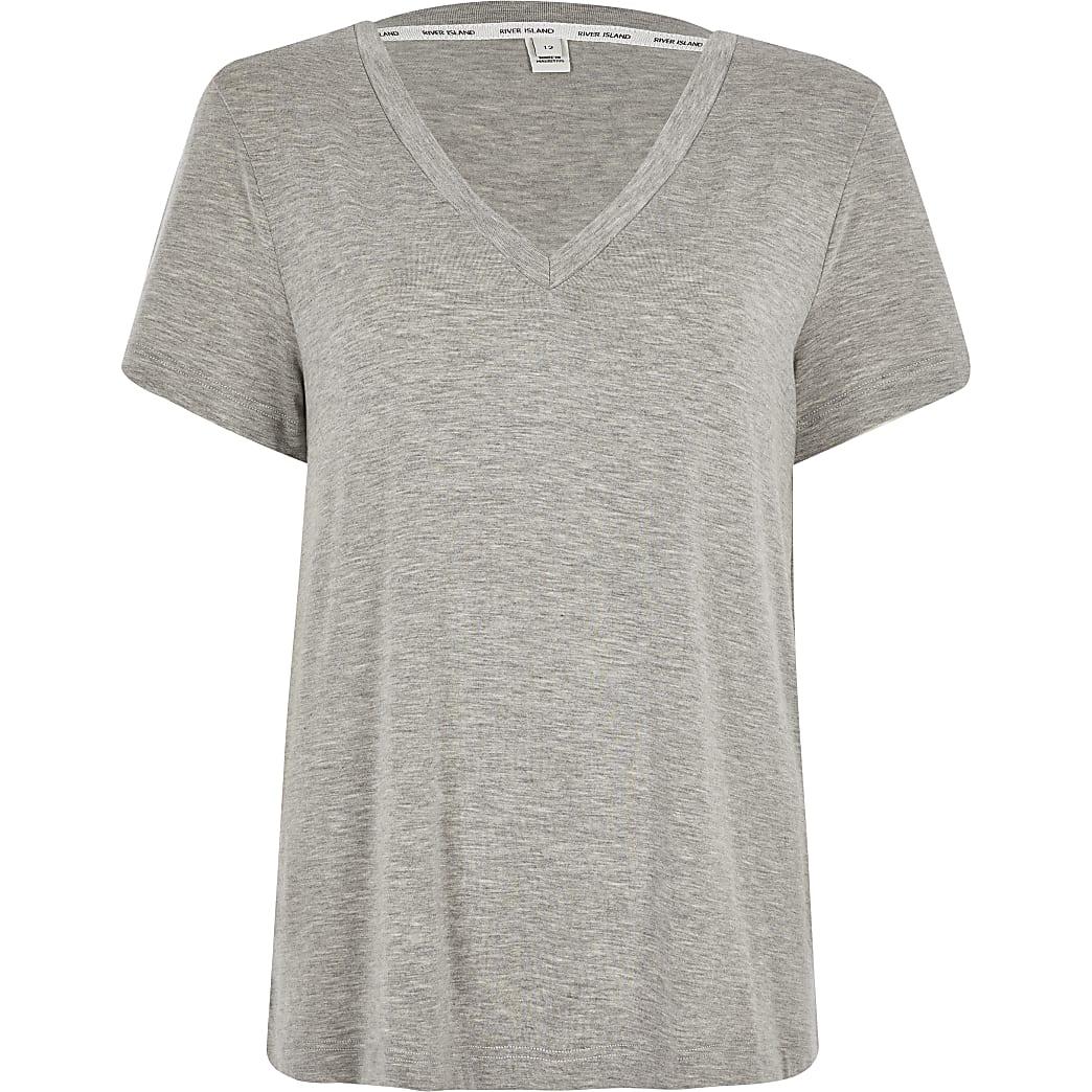 Marl grey premium jersey V neck T shirt
