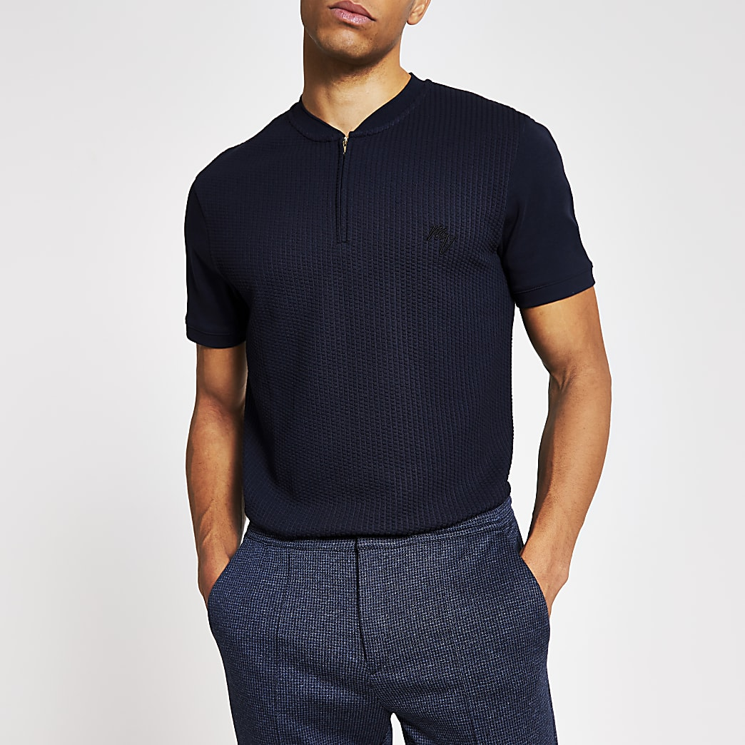 Maison Riviera -Marineblauw slim-fit T-shirt met halve ritssluiting