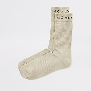 Beige MCMLX geribbelde sokken