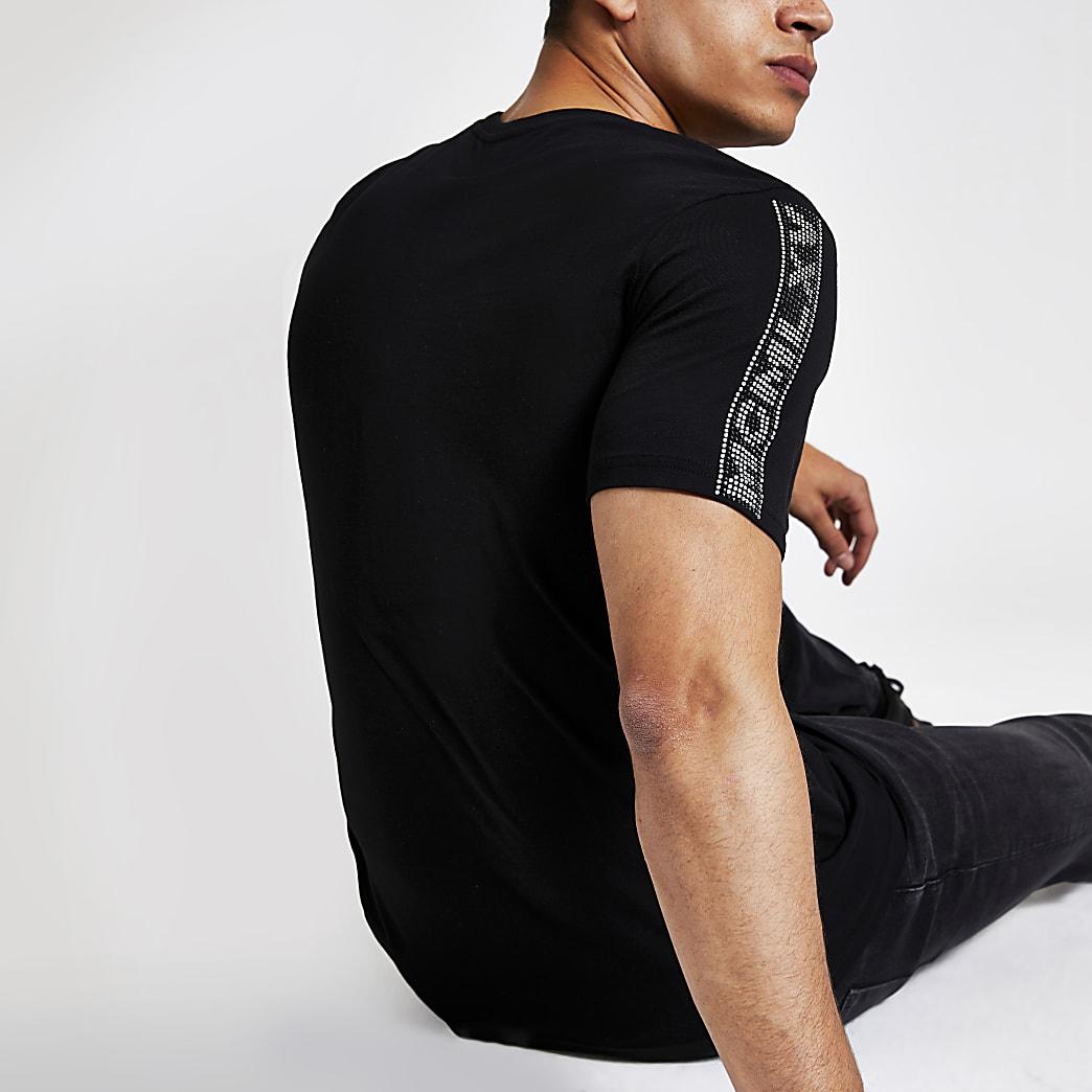 MCMLX black diamante trim slim fit t-shirt