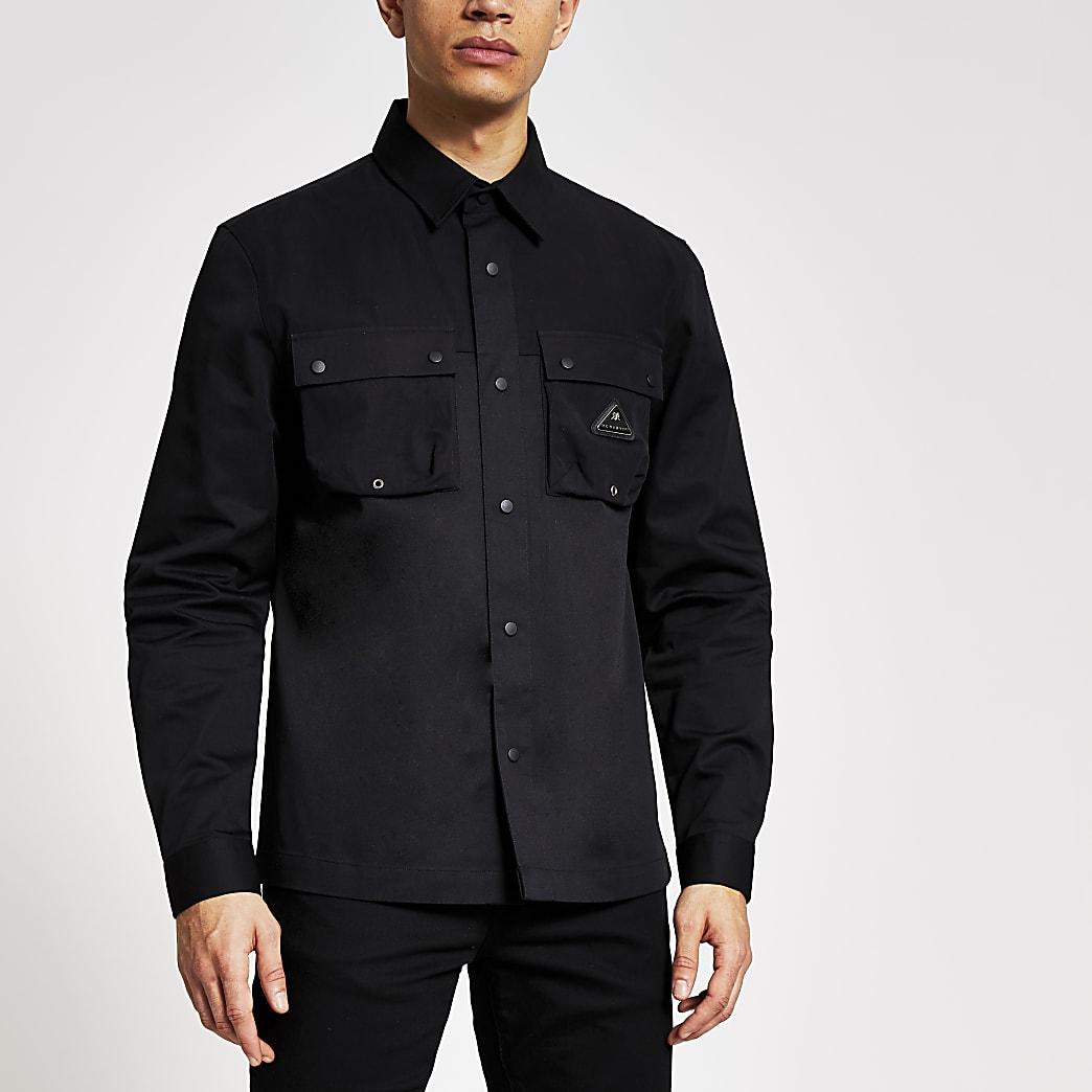 MCMLX black double pocket long sleeve shacket