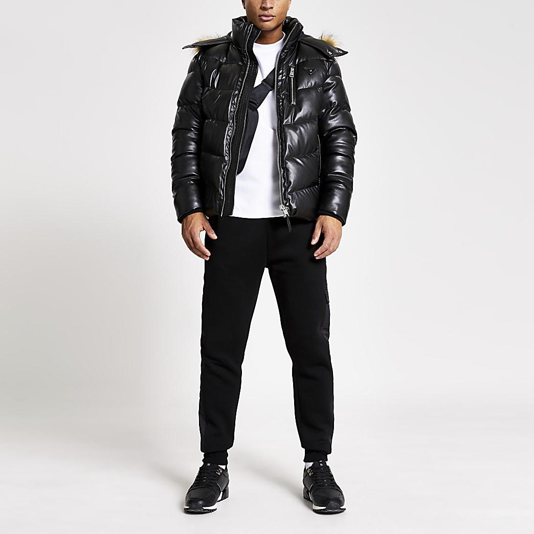 MCMLX – Gefütterte Jacke aus Kunstleder in Schwarz
