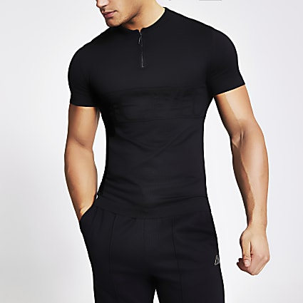 MCMLX black half zip muscle fit knitted top
