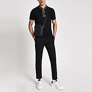 MCMLX black half zip slim fit polo shirt
