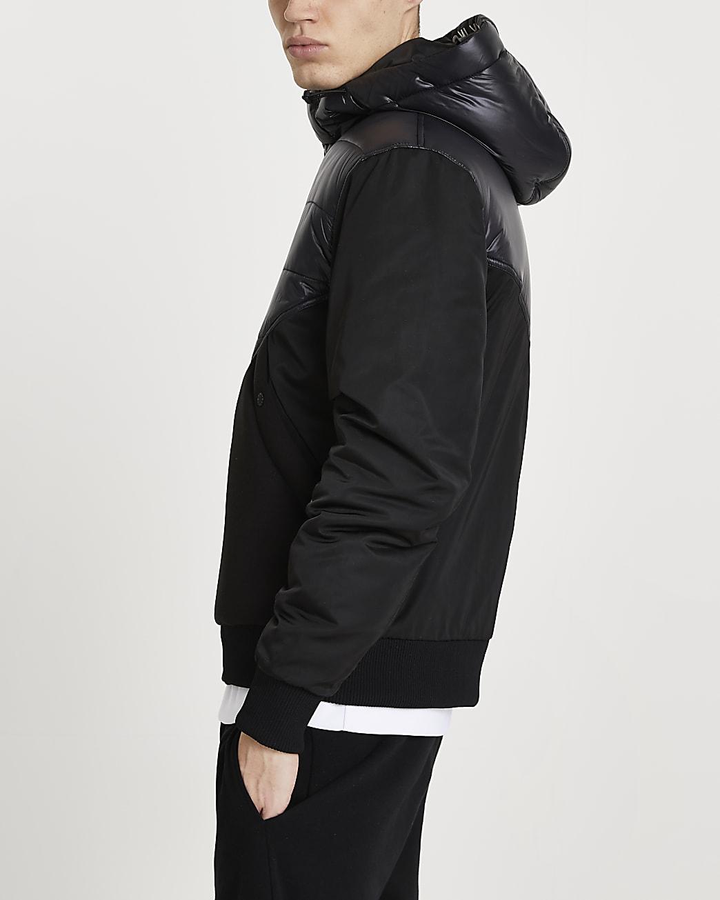MCMLX black hooded bomber jacket