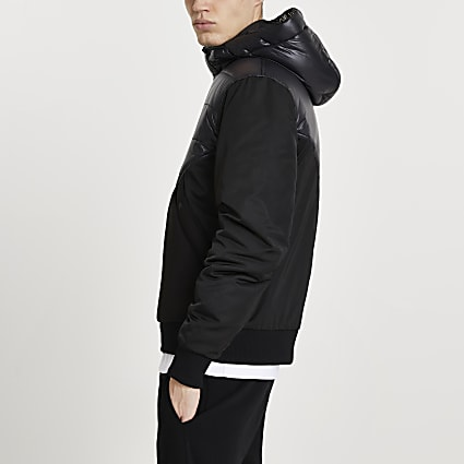 MCMLX Black hooded bomber jacket