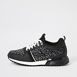 MCMLX– Schwarze Sneaker zum Schnüren mit Strickeinsätzen
