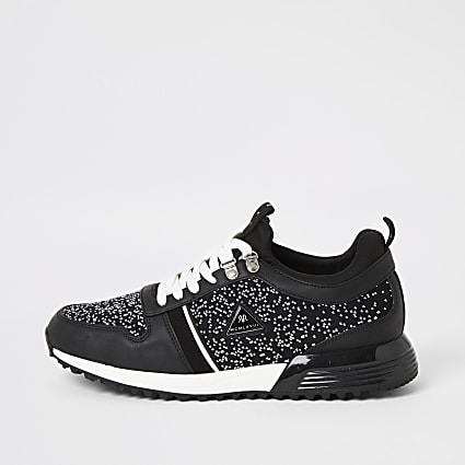 MCMLX black knitted lace-up trainers
