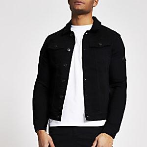 MCMLX black muscle fit denim jacket