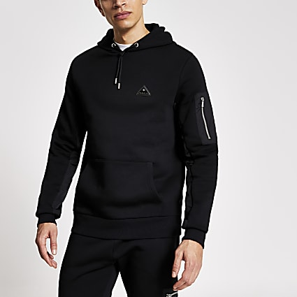 MCMLX black nylon panel slim fit hoodie