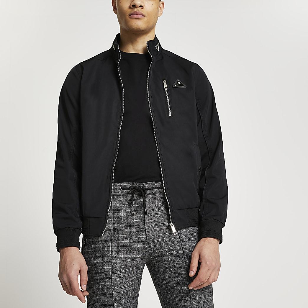 MCMLX black nylon racer jacket