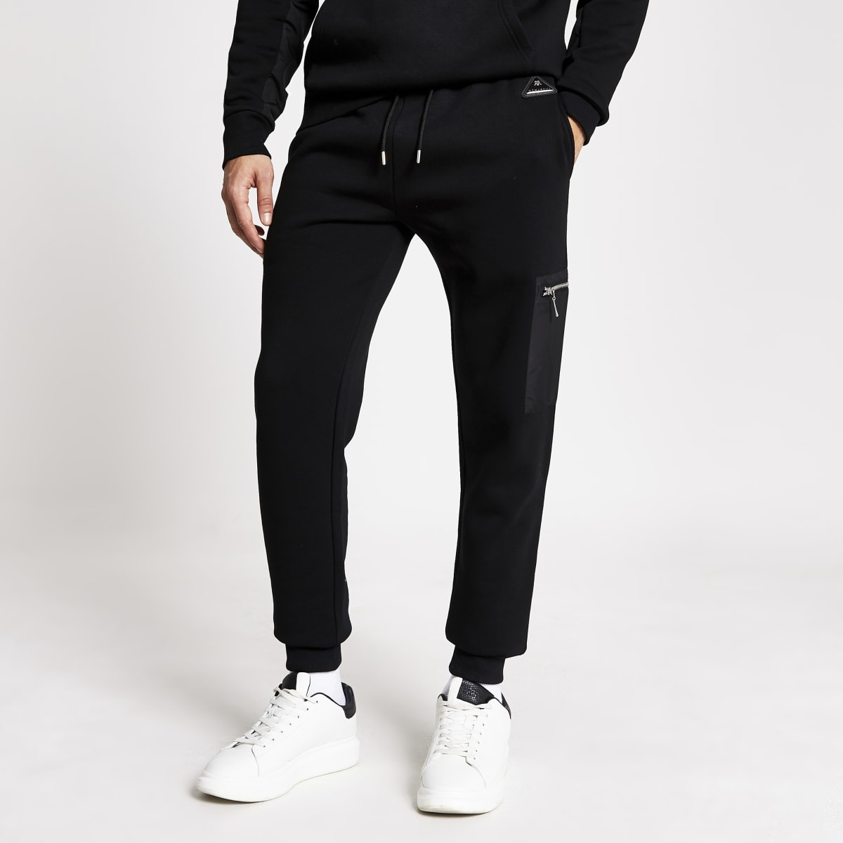 MCMLX black nylon slim fit joggers