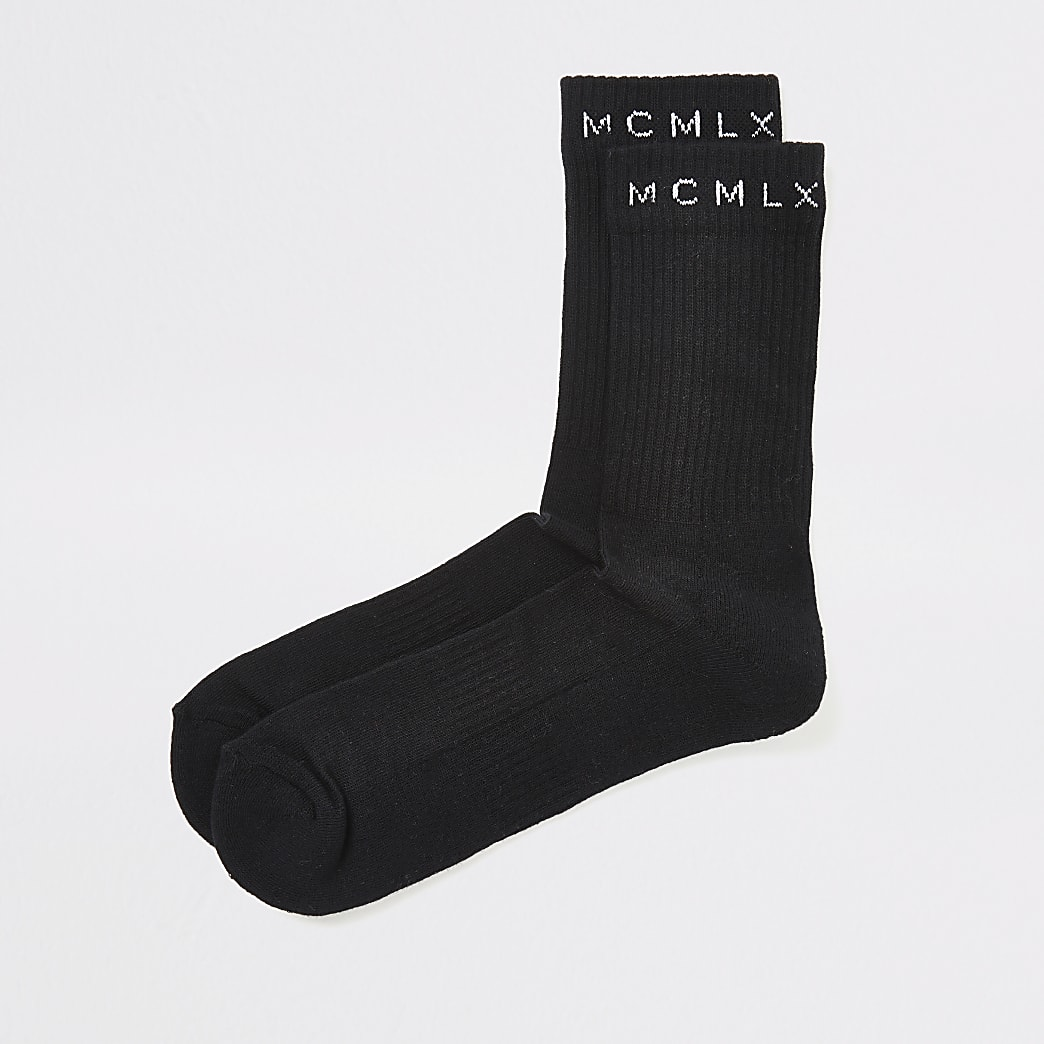 Zwarte MCMLX geribbelde sokken