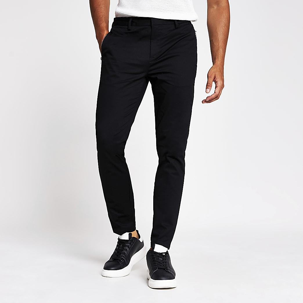 MCMLX black skinny zip pocket trousers