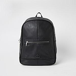 MCMLX– Schwarzer Rucksack mit Reißverschlusstasche vorne