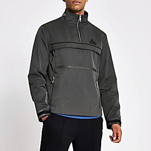 MCMLX– Veste à enfiler avec col zippé gris foncé