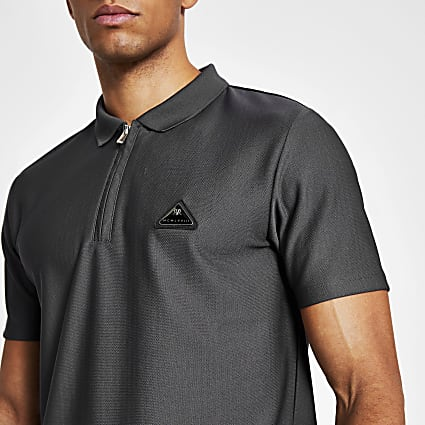 MCMLX dark grey slim fit zip polo shirt