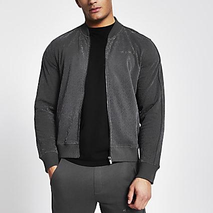 MCMLX dark grey velour zip sweatshirt