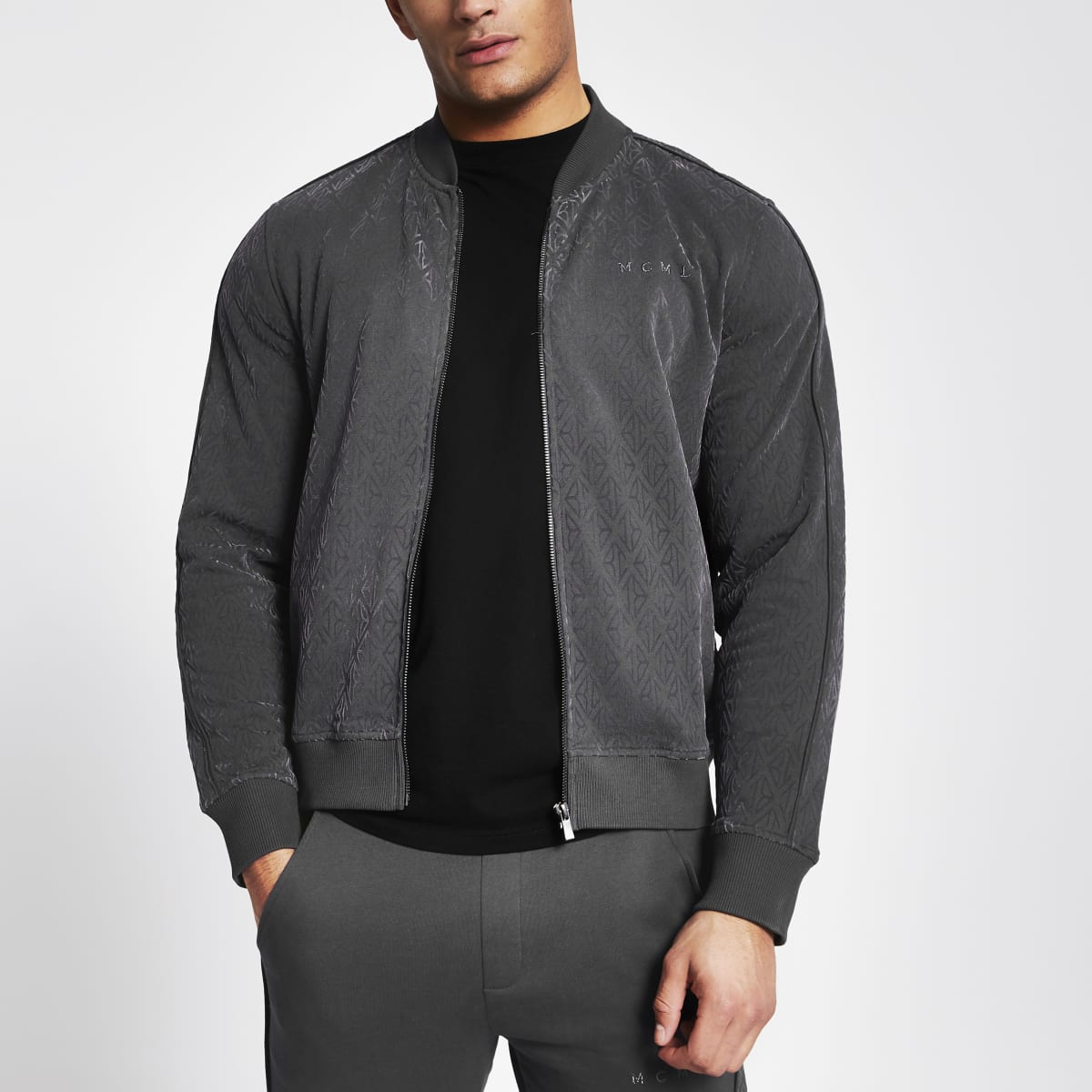 MCMLX dark grey velour zip sweatshirt
