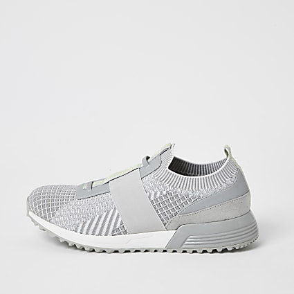 MCMLX grey elasticated knitted trainers