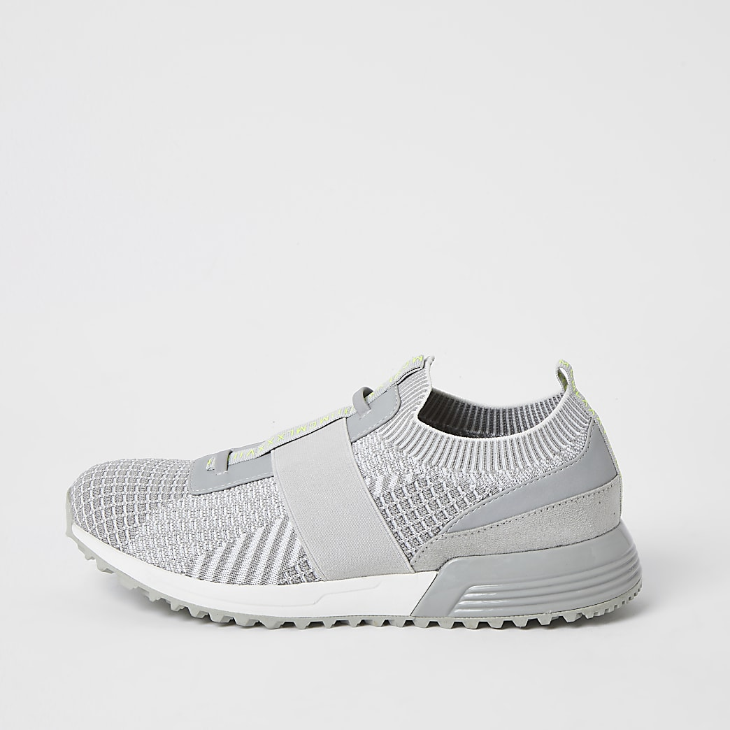 Grijze elastische gebreide MCMLX sneakers