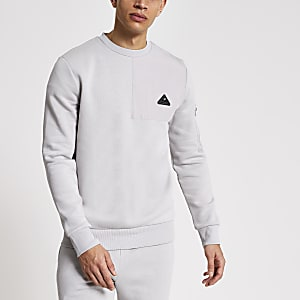 MCMLX - Grijze slim-fit sweater met nylon embleem