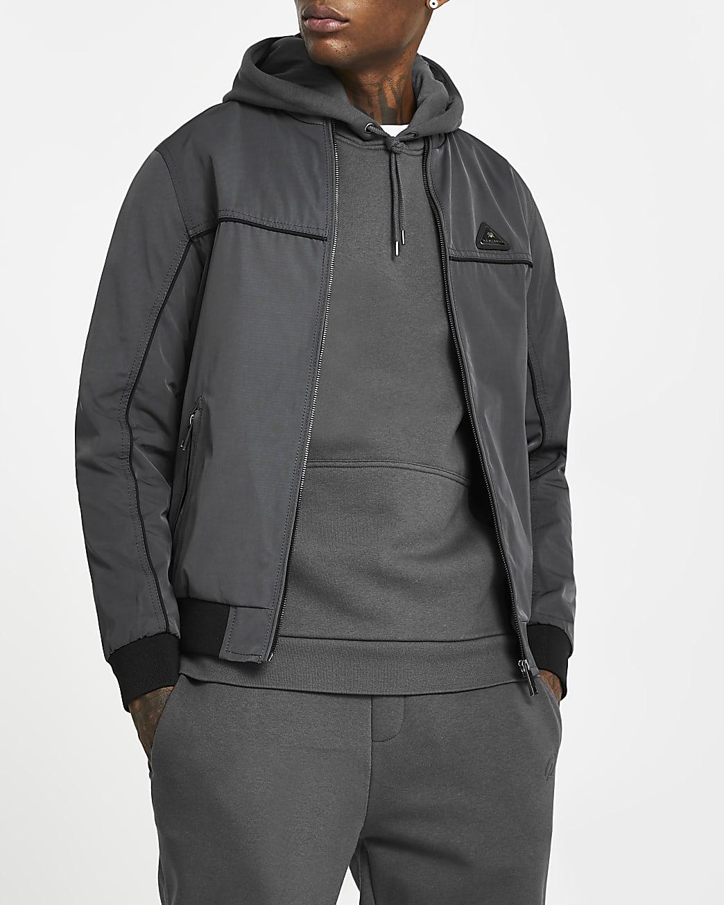 MCMLX grey zip front racer jacket