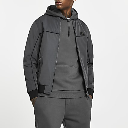 MCMLX grey zip front racer jacket