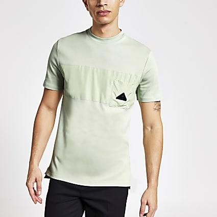 MCMLX light green nylon slim fit T-shirt