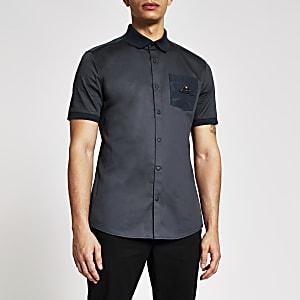 MCMLX - Marineblauw slim-fit overhemd met borstzak met embleem