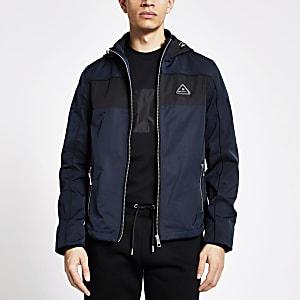 MCMLX – Veste à capuche colour block bleu marine
