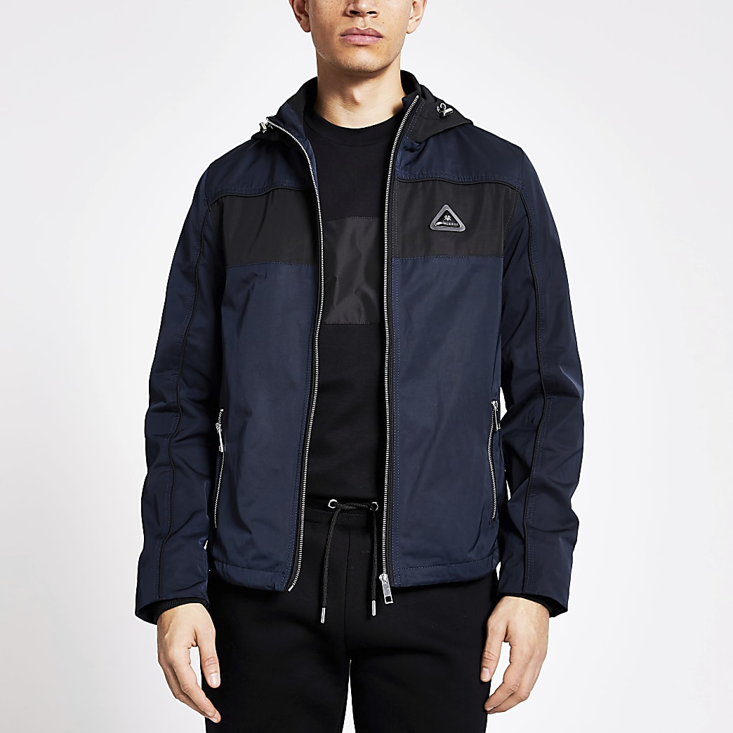 MCMLX navy colour block hooded jacket