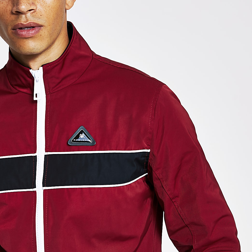 MCMLX red colour blocked track jacket