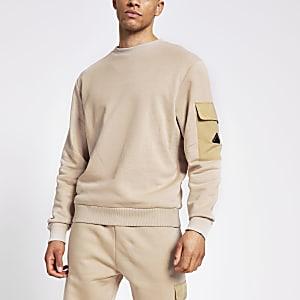 MCMLX – Steingraues Slim Fit Sweatshirt mit Nylon-Ärmeltasche