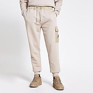 MCMLX – Pantalon de jogging slim en nylon colour blockgrège