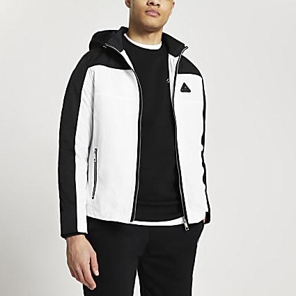 MCMLX white colour block coat