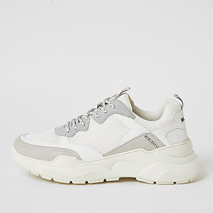 MCMLX white lace-up chunky trainers