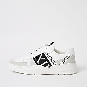 MCMLX white tape lace-up trainers
