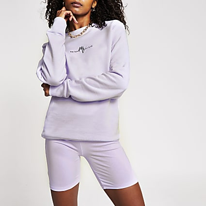 Mens purple slim Maison crew sweatshirt