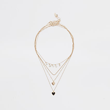 Metal amour heart layered necklace