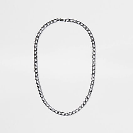 Metal gunmetal chain necklace