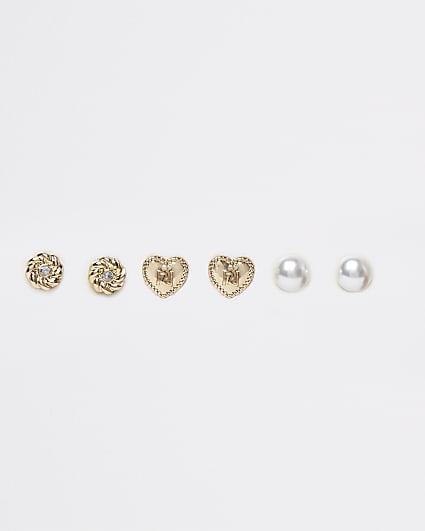 Metal heart and pearl stud earrings