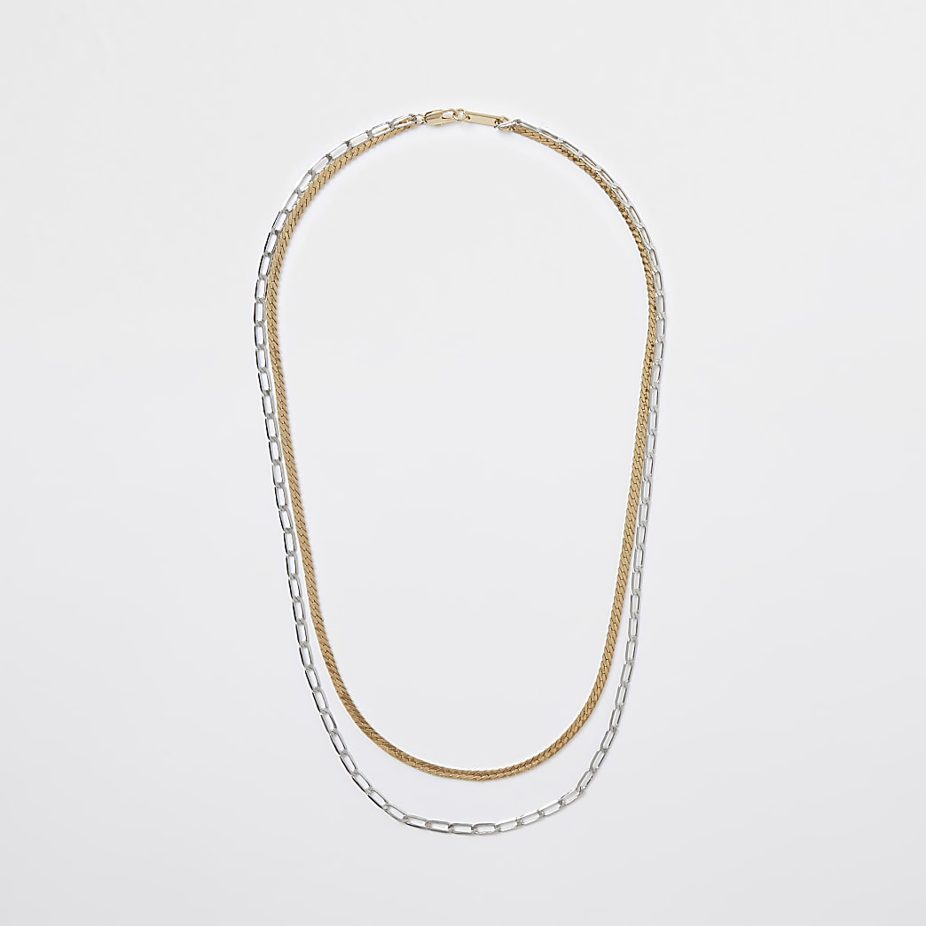 Metal mixed double chain necklace
