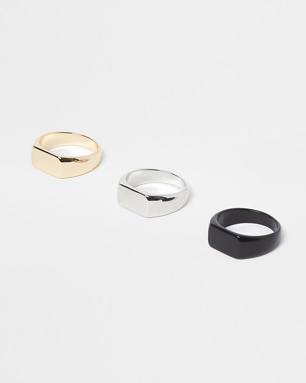 Metal multi colour signet rings 3 pack