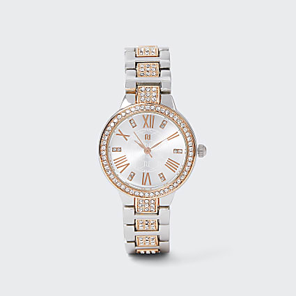 Metal Multi Rhinestone Link Watch